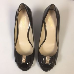 New Coach Patent Leather Wedges (sz 7.5)
